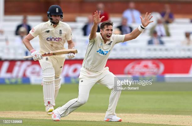 Tim Southee of New Zealand appeals unsuccessfully for the wicket of Dom Sibley of England during Day 5 of the First LV= Insurance Test Match between...