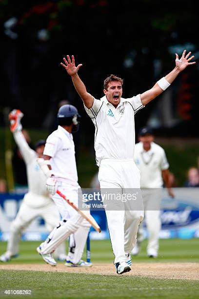 Tim Southee of New Zealand appeals without success during day four of the Second Test match between New Zealand and Sri Lanka at Basin Reserve on...