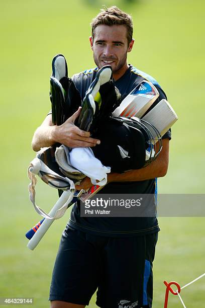 Tim Southee of New Zealand arrives for a New Zealand Black Caps training session at Eden Park on February 25 2015 in Auckland New Zealand
