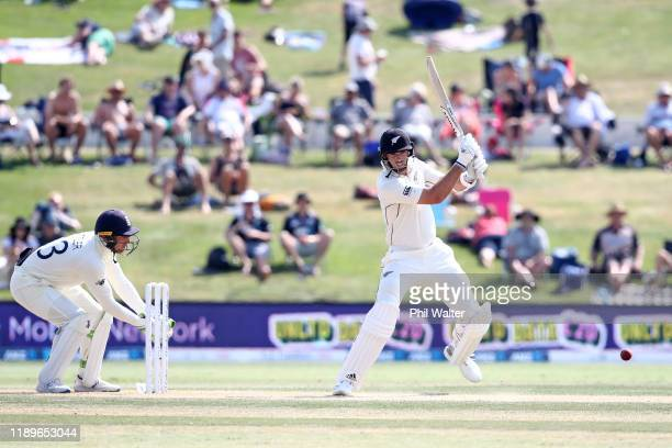 Tim Southee of New Zealand bats during day four of the first Test match between New Zealand and England at Bay Oval on November 24, 2019 in Mount...
