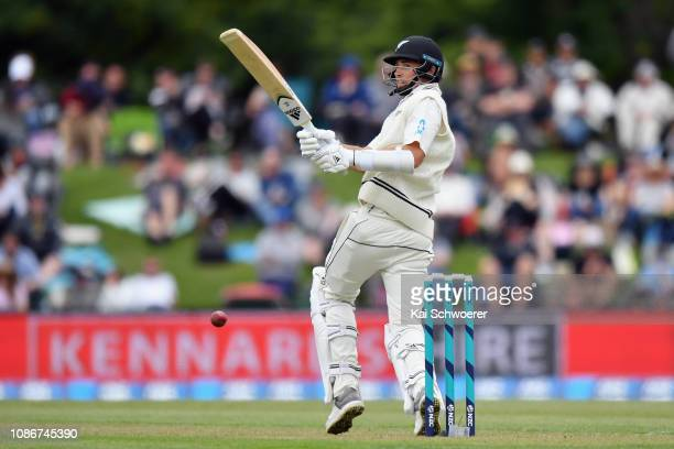 Tim Southee of New Zealand bats during day one of the Second Test match in the series between New Zealand and Sri Lanka at Hagley Oval on December...