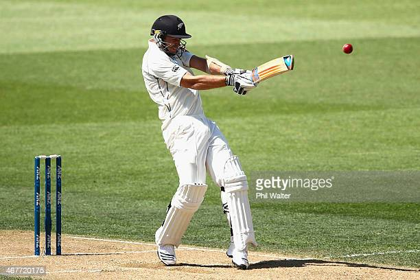 Tim Southee of New Zealand bats during day three of the First Test match between New Zealand and India at Eden Park on February 8 2014 in Auckland...