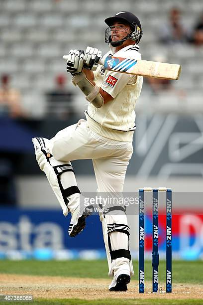 Tim Southee of New Zealand bats during day two of the First Test match between New Zealand and India at Eden Park on February 7, 2014 in Auckland,...