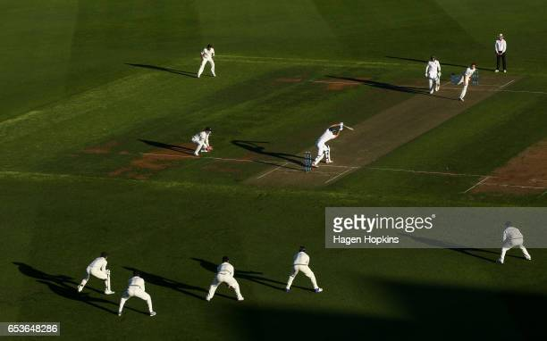 Tim Southee of New Zealand bowls during day one of the Test match between New Zealand and South Africa at Basin Reserve on March 16 2017 in...