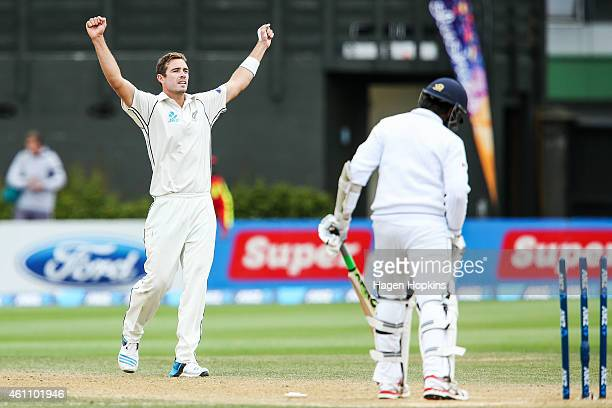 Tim Southee of New Zealand celebrates after dismissing Nuwan Pradeep of Sri Lanka to win the ANZ Test Series during day five of the Second Test match...
