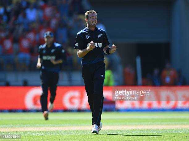 Tim Southee of New Zealand celebrates after taking the wicket of Chris Woakes of England during the 2015 ICC Cricket World Cup match between England...