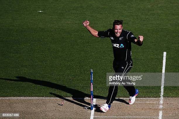 Tim Southee of New Zealand celebrates after winning the first One Day International game between New Zealand and Australia at Eden Park on January 30...