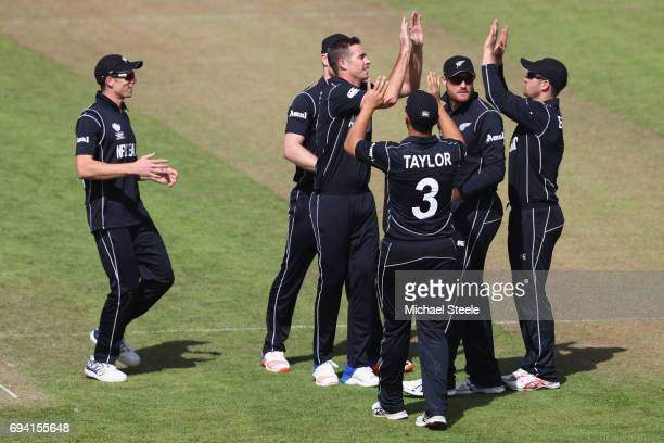 Tim Southee of New Zealand celebrates capturing the wicket of Sabbir Rahman of Bangladesh during the ICC Champions Trophy match between New Zealand...