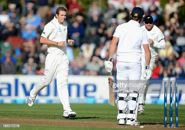 Tim Southee of New Zealand celebrates dismissing Nick Compton of England during day two of the First Test match between New Zealand and England at...