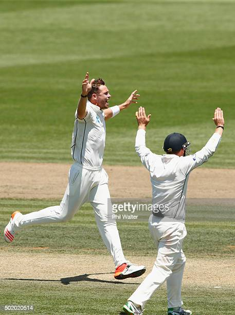Tim Southee of New Zealand celebrates his wicket of Angelo Mathews of Sri Lanka during day three of the Second Test match between New Zealand and Sri...