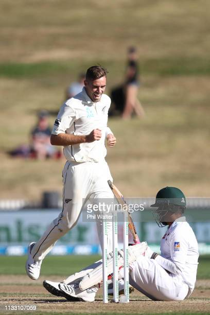 Tim Southee of New Zealand celebrates his wicket of Tamim Iqbal of Bangladesh during day three of the First Test match in the series between New...