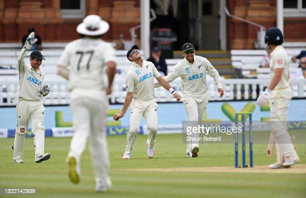 Tim Southee of New Zealand celebrates taking the catch of Rory Burns of England during Day 5 of the First LV= Insurance Test Match between England...