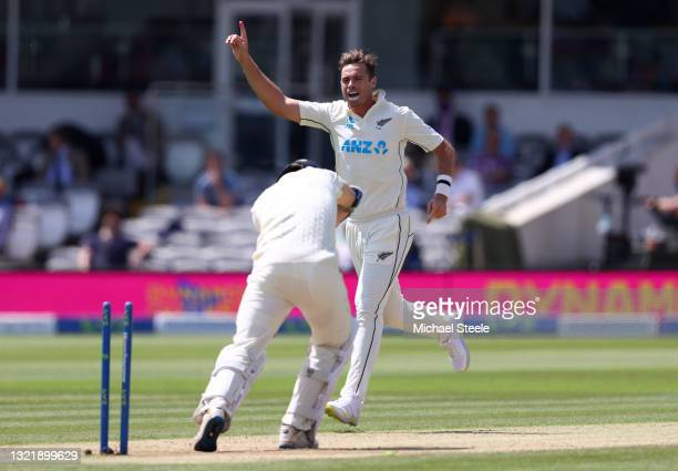 Tim Southee of New Zealand celebrates taking the wicket of James Bracey of England during Day 4 of the First LV= Insurance Test Match between England...