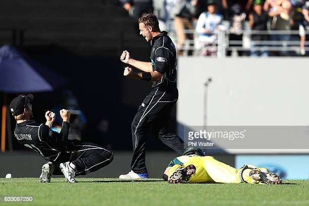 Tim Southee of New Zealand celebrates the runout from Kane Williamson of Josh Hazlewood of Australia during the first One Day International game...