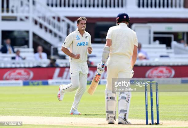 Tim Southee of New Zealand celebrates the wicket of Zak Crawley of England during Day 2 of the First LV= Insurance Test Match between England and New...