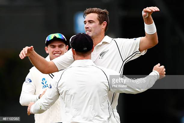 Tim Southee of New Zealand is hugged by Brendon McCullum as he celebrates his wicket of Nuwan Pradeep of Sri Lanka to win the match and the series...