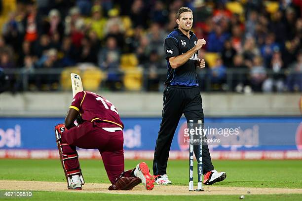 Tim Southee of New Zealand looks on after dismissing Andre Russell of the West Indies during the 2015 ICC Cricket World Cup match between New Zealand...
