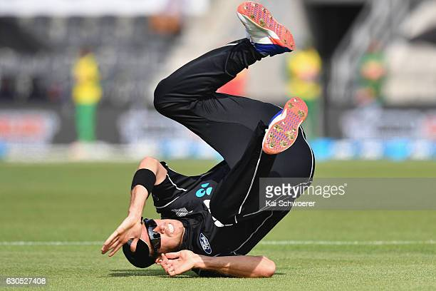 Tim Southee of New Zealand misses a catch during the first One Day International match between New Zealand and Bangladesh at Hagley Oval on December...