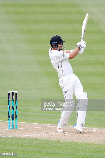 Tim Southee of New Zealand pulls the ball away during day two of the Second Test Match between New Zealand and the West Indies at Seddon Park on...