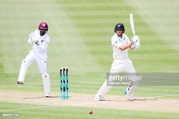 Tim Southee of New Zealand pulls the ball away for four runs during day two of the Second Test Match between New Zealand and the West Indies at...