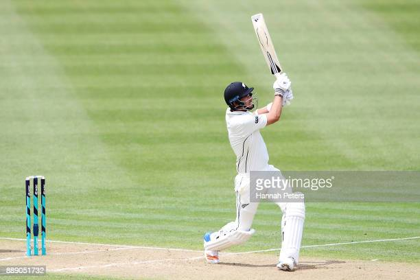Tim Southee of New Zealand pulls the ball away for six runs during day two of the Second Test Match between New Zealand and the West Indies at Seddon...