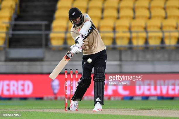 Tim Southee of the Black Caps about to score a six during game four of the International T20 series between New Zealand Blackcaps and Australia at...