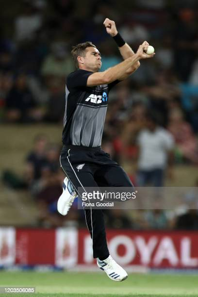 Tim Southee of the Black Caps bowls during game five of the Twenty20 series between New Zealand and India at Bay Oval on February 02, 2020 in Mount...