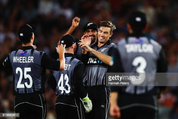 Tim Southee of the Black Caps celebrates after bowling Glenn Maxwell of Australia out during the International Twenty20 match between New Zealand and...