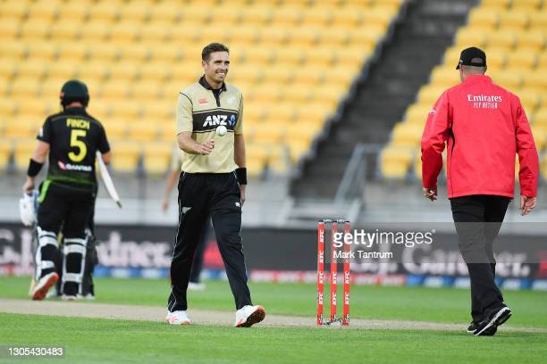 Tim Southee of the Black Caps during game four of the International T20 series between New Zealand Blackcaps and Australia at Sky Stadium on March...