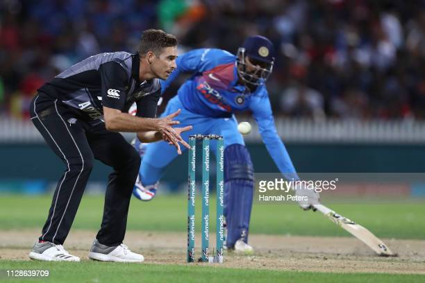 Tim Southee of the Black Caps fields during the International T20 Game 3 between India and New Zealand at Seddon Park on February 10 2019 in Hamilton...