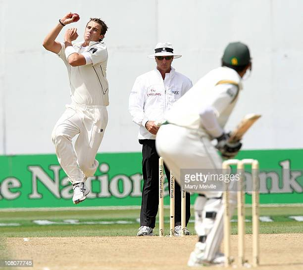 Tim Southee of the Blackcaps bowls during day three of the Second Test match between the New Zealand Blackcaps and Pakistan at Basin Reserve on...