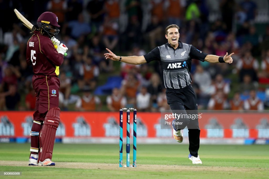 Tim Southee of the New Zealand Black Caps bats celebrates his wicket of Chris Gayle of the West Indies during game three of the Twenty20 series between New Zealand and the West Indies at Bay Oval on January 3, 2018 in Mount Maunganui, New Zealand.
