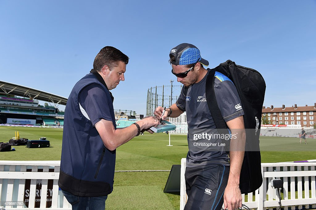 Tim Southee signs autographs during the New Zealand Nets Session at The Kia Oval on June 11, 2015 in London, England.