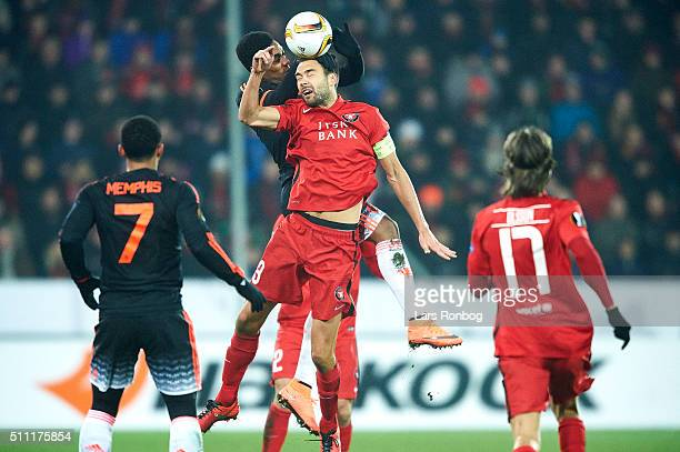 Tim Sparv of FC Midtjylland in action during the UEFA Europa League match between FC Midtjylland and Manchester United at MCH Arena on February 18...