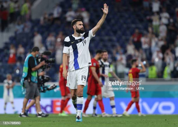 Tim Sparv of Finland acknowledges the fans after the UEFA Euro 2020 Championship Group B match between Finland and Belgium at Saint Petersburg...