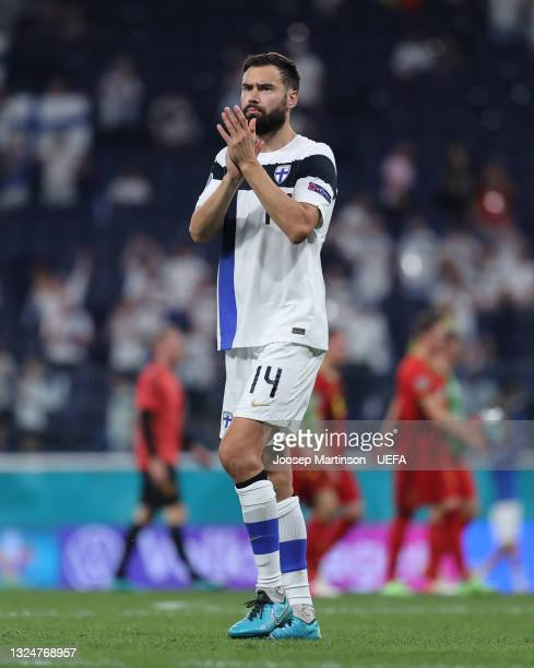Tim Sparv of Finland applauds the fans after the UEFA Euro 2020 Championship Group B match between Finland and Belgium at Saint Petersburg Stadium on...