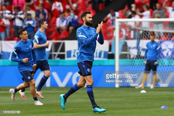 Tim Sparv of Finland applauds the fans during the warm up prior to the UEFA Euro 2020 Championship Group B match between Denmark and Finland on June...