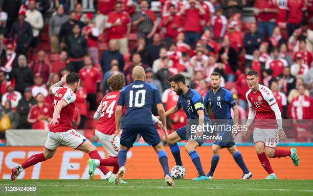 Tim Sparv of Finland in action during the UEFA EURO 2020 Group B match between Denmark and Finland at Parken Stadium on June 12, 2021 in Copenhagen,...