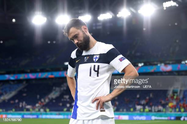 Tim Sparv of Finland looks dejected after the UEFA Euro 2020 Championship Group B match between Finland and Belgium at Saint Petersburg Stadium on...