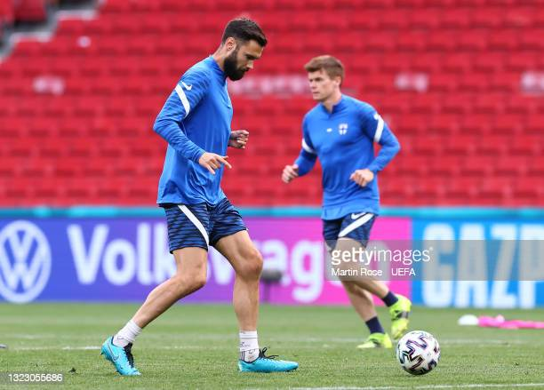 Tim Sparv of Finland makes a pass during the Finland Training Session ahead of the UEFA Euro 2020 Championship Group B match between Denmark and...