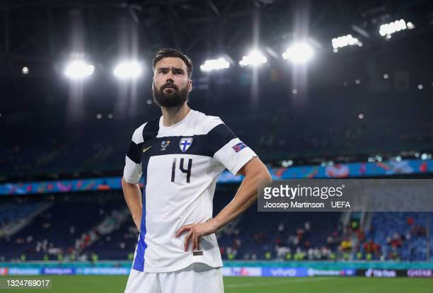 Tim Sparv of Finland reacts after the UEFA Euro 2020 Championship Group B match between Finland and Belgium at Saint Petersburg Stadium on June 21,...