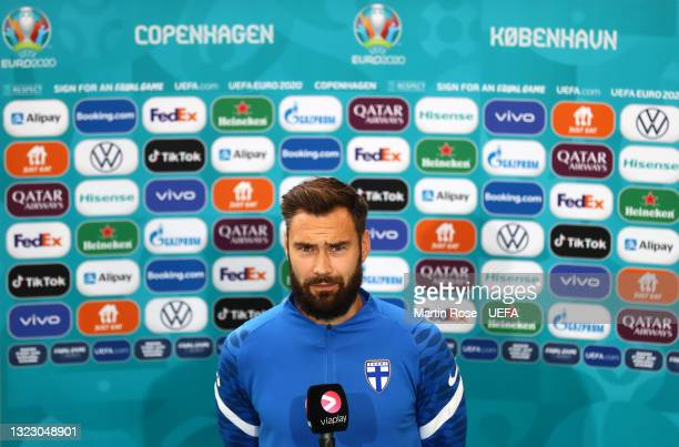Tim Sparv of Finland speaks during a TV interview prior to the Finland Training Session ahead of the UEFA Euro 2020 Championship Group B match...