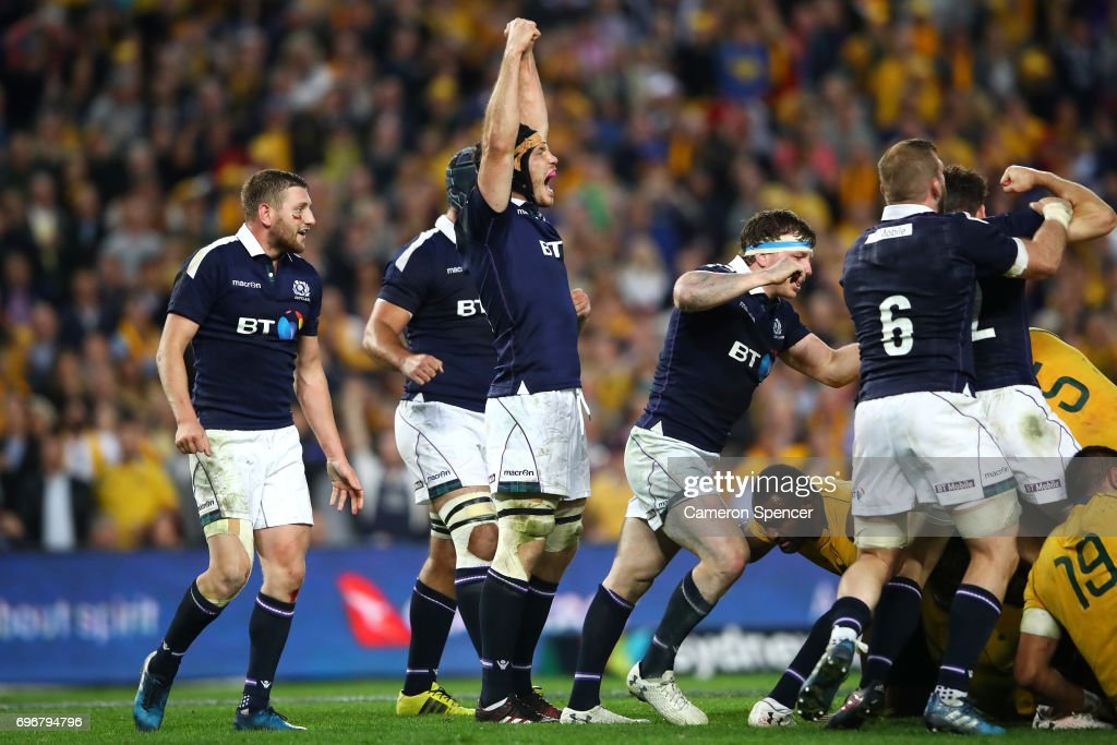 Tim Swinson of Scotland and team mates celebrate winning the International Test match between the Australian Wallabies and Scotland at Allianz Stadium on June 17, 2017 in Sydney, Australia.