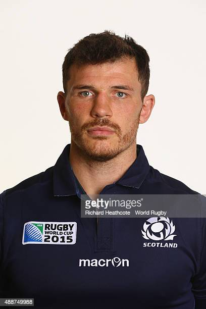 Tim Swinson of Scotland during the Scotland Rugby World Cup 2015 squad photo call at the Hilton Puckrup Hall Hotel on September 17 2015 in Tewkesbury...