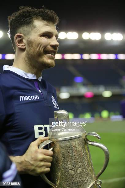 Tim Swinson of Scotland with The Calcutta Cup after the NatWest Six Nations Championship between Scotland and England at Murrayfield on February 24...