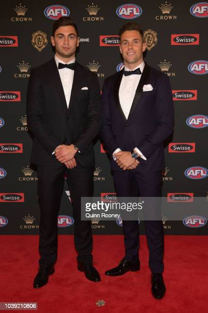 Tim Taranto and Joshua Kelly of the Giants arrives ahead of the 2018 Brownlow Medal at Crown Entertainment Complex on September 24 2018 in Melbourne...