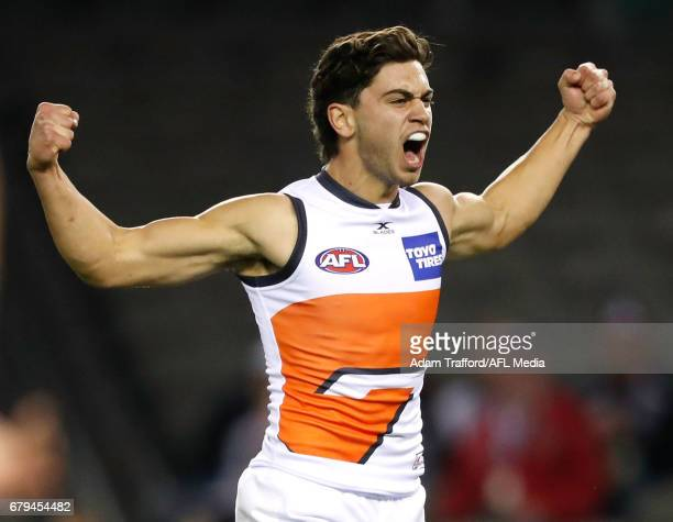 Tim Taranto of the Giants celebrates his first AFL goal during the 2017 AFL round 07 match between the St Kilda Saints and the GWS Giants at Etihad...