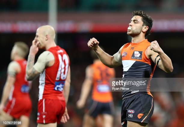 Tim Taranto of the Giants celebrates on the final siren during the AFL Second Elimination Final match between the Sydney Swans and the GWS Giants at...