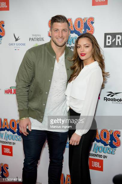 Tim Tebow and DemiLeigh NelPeters attend Shaq's Fun House at Live At The Battery on February 01 2019 in Atlanta Georgia