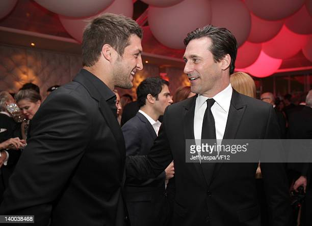 Tim Tebow and Jon Hamm attend the 2012 Vanity Fair Oscar Party Hosted By Graydon Carter at Sunset Tower on February 26 2012 in West Hollywood...